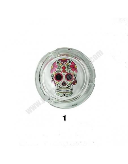 Cendrier en verre tête de mort mexicaine
